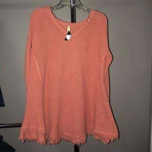 NWT Wishlist Rose Frayed Sweater